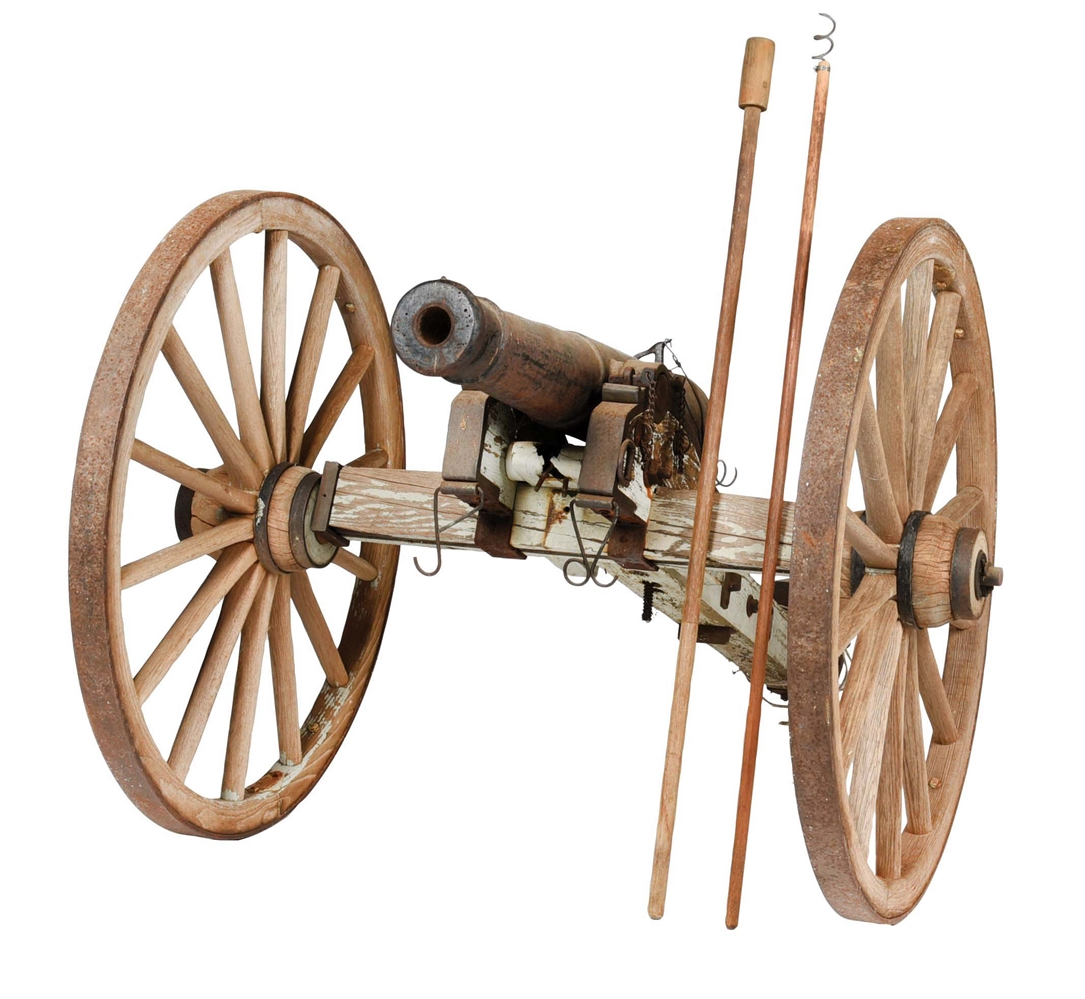 LARGE 19TH CENTURY STYLE PERCUSSION CANNON WITH ACCESSORIES.