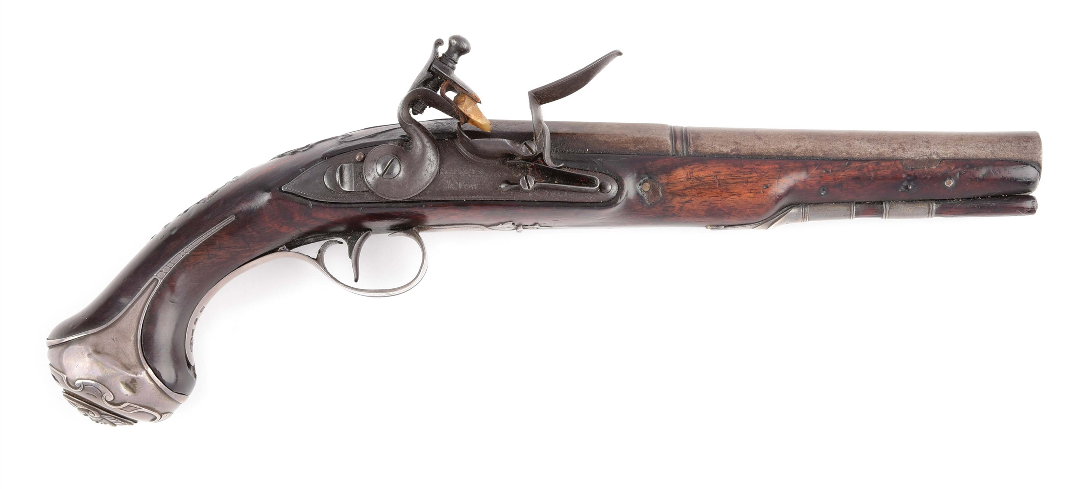 (A) SILVER MOUNTED ENGLISH FLINTLOCK OFFICERS PISTOL BY GRIFFIN & TOW.