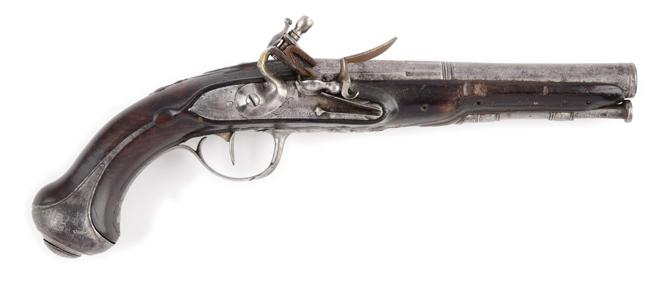 (A) FRENCH FLINTLOCK PISTOL BY DAUPHINE BERGERAC.