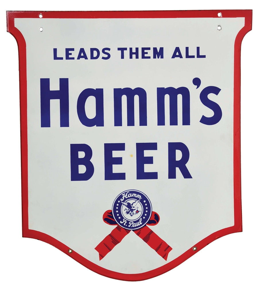 DOUBLE-SIDED DIE-CUT PORCELAIN SIGN ADVERTISING HAMMS BEER.