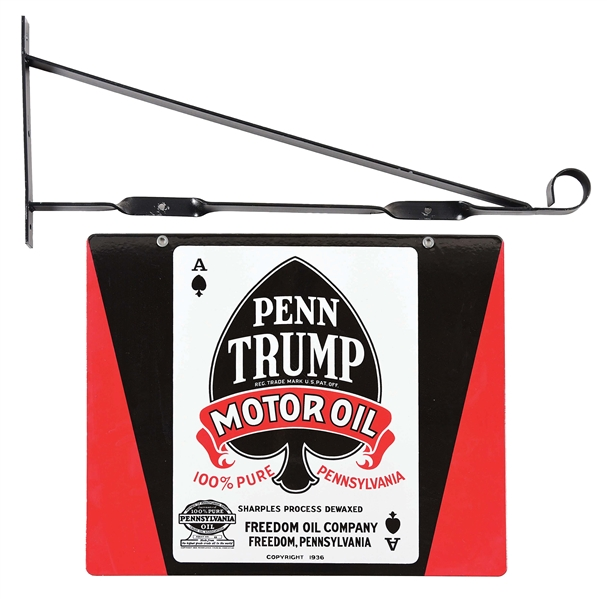 RARE & OUTSTANDING PENN TRUMP MOTOR OIL PORCELAIN SERVICE STATION SIGN W/ METAL HANGING BRACKET.