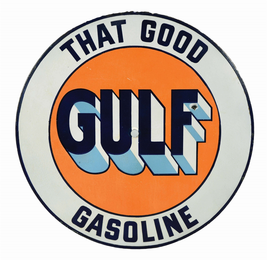 RARE THAT GOOD GULF GASOLINE PORCELAIN CONVEX LIGHTHOUSE SIGN.