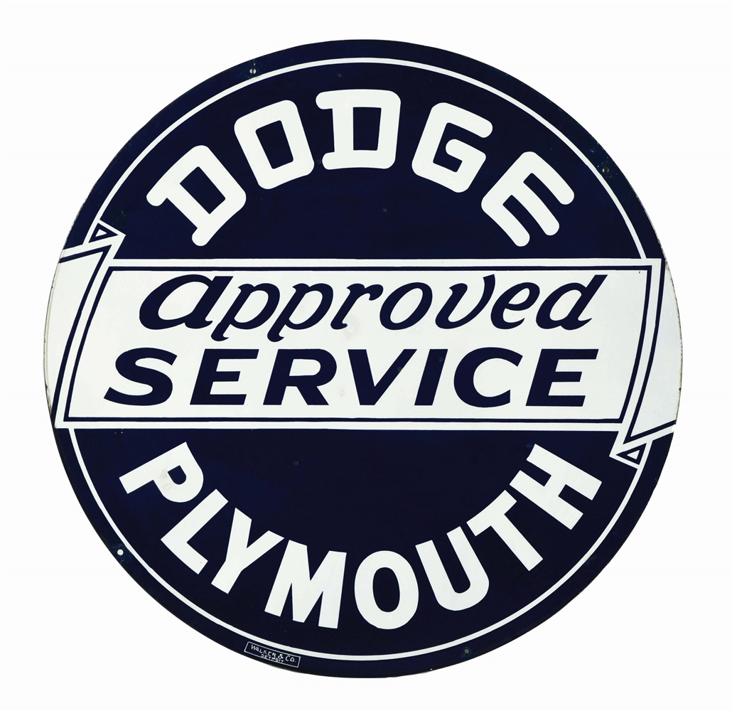 DODGE PLYMOUTH APPROVED SERVICE PORCELAIN SIGN.
