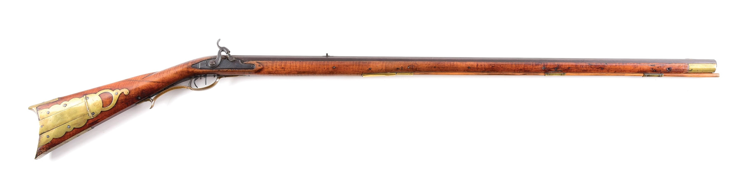 (A) SIGNED BEDFORD COUNTY PERCUSSION KENTUCKY RIFLE BY WILLIAM BORDER.