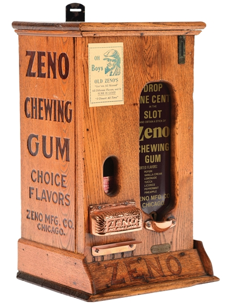 WOODEN ZENO CHEWING GUM MACHINE.