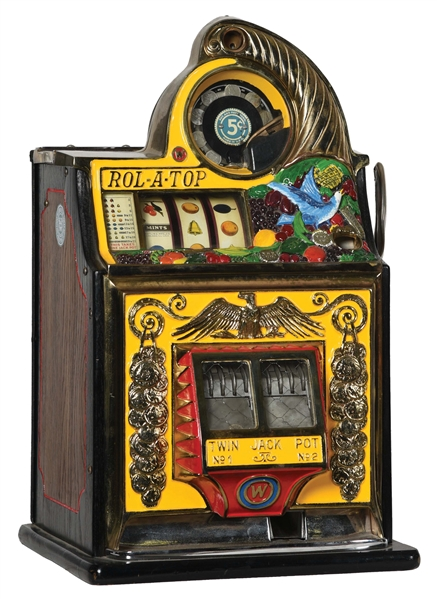 5¢ WATLING ROL-A-TOP BIRD OF PARADISE SLOT MACHINE.