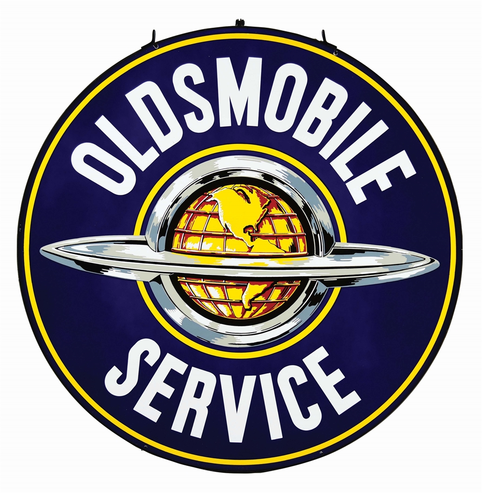 OUTSTANDING OLDSMOBILE SERVICE PORCELAIN SIGN W/ GLOBE GRAPHIC.