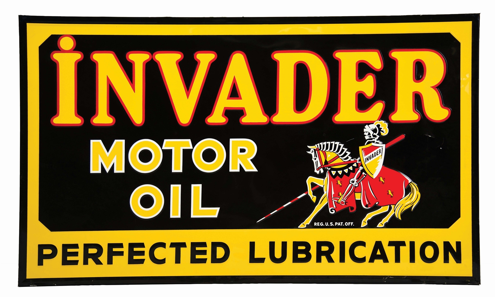 RARE & OUTSTANDING INVADER MOTOR OIL EMBOSSED TIN SIGN W/ KNIGHT GRAPHIC.