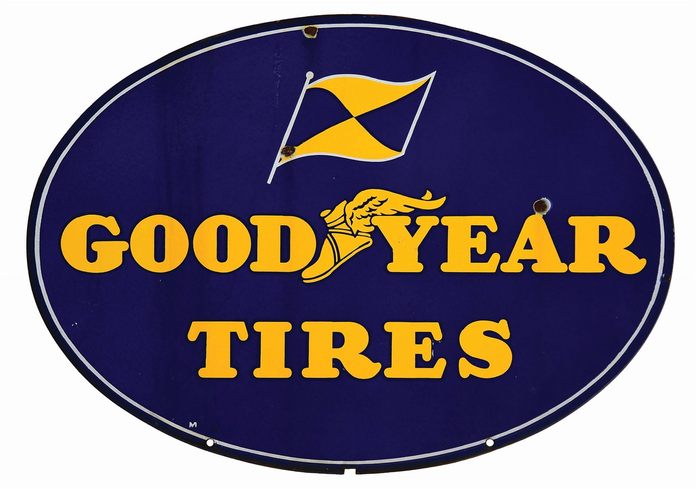 GOODYEAR TIRES PORCELAIN SERVICE STATION SIGN W/ FLAG & WINGED FOOT GRAPHIC.