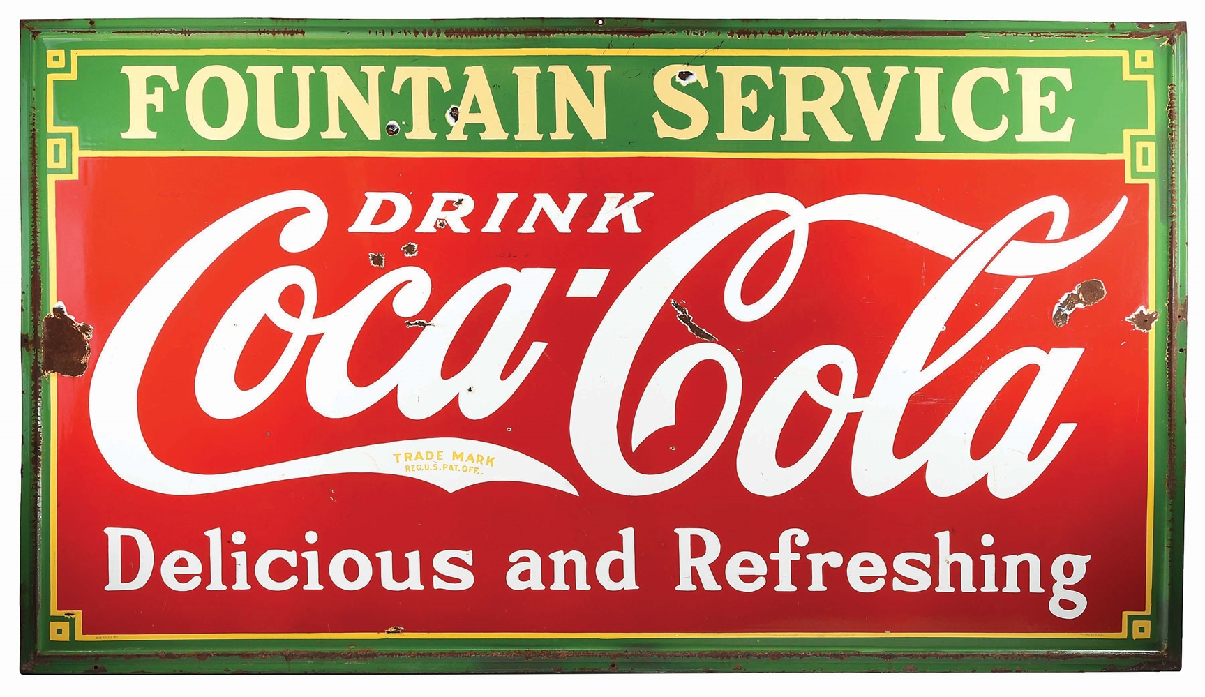 COCA COLA FOUNTAIN SERVICE PORCELAIN SIGN W/ SELF FRAMED EDGE.