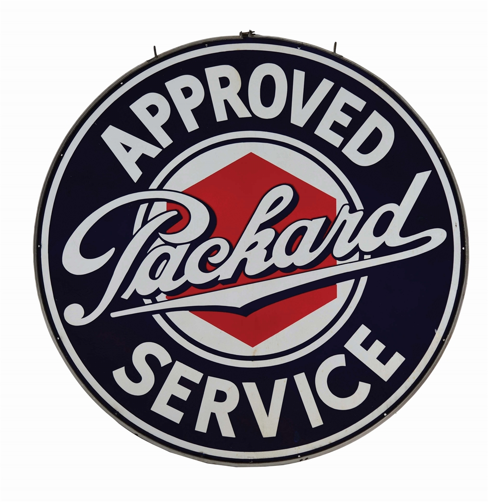 PACKARD APPROVED SERVICE PORCELAIN SIGN W/ ORIGINAL IRON RING.