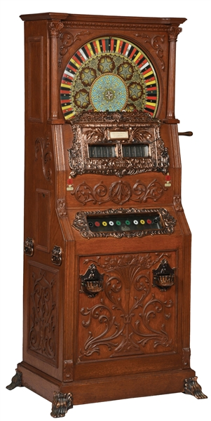 5¢ MILLS DUPLEX UPRIGHT SLOT MACHINE.