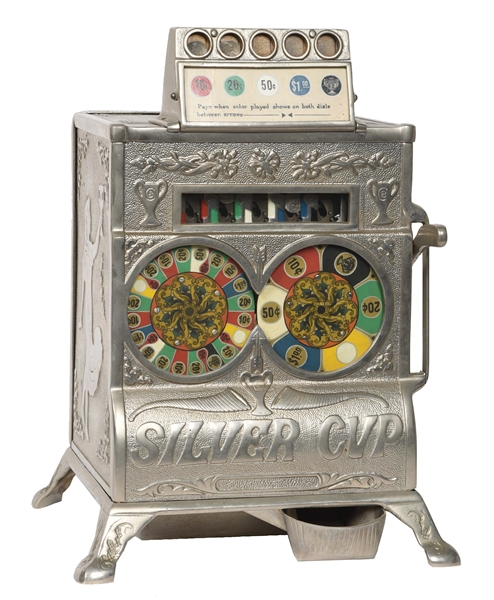5¢ CAILLE BROS. SILVER CUP COUNTER TWO WHEEL SLOT MACHINE.