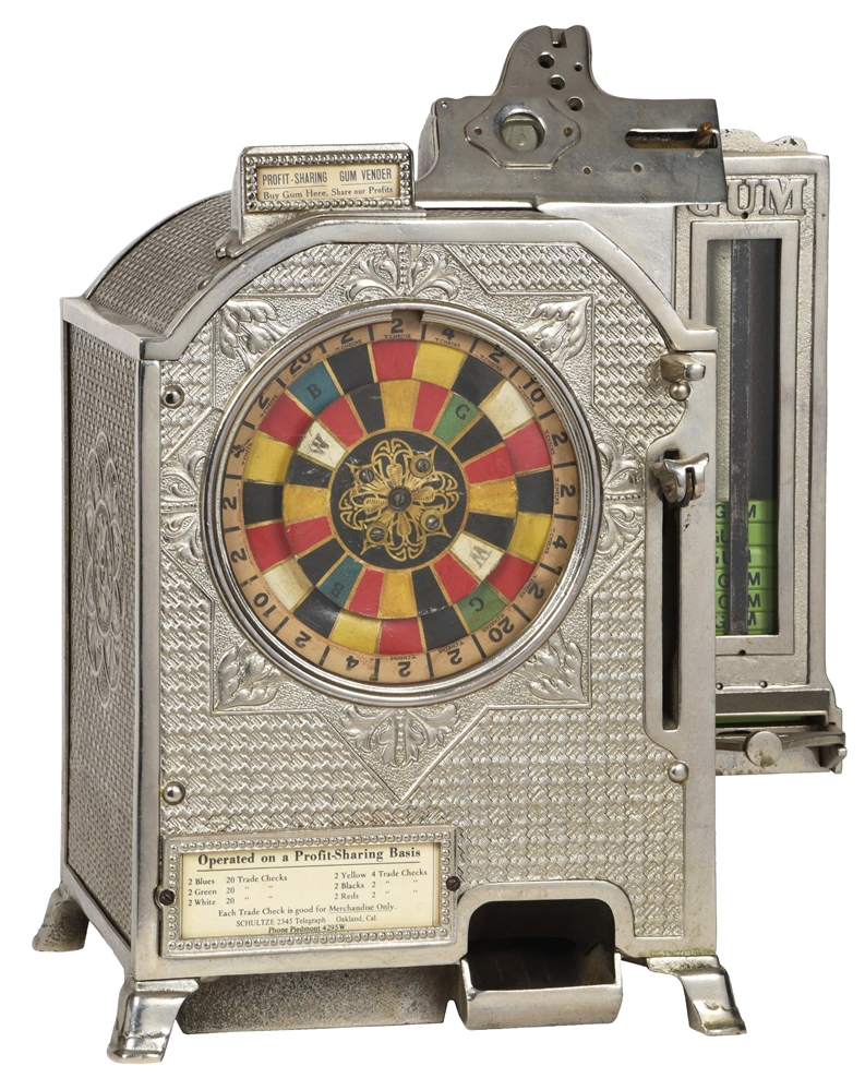 RARE 5¢ WATLING COLOR MATCH COUNTER WHEEL SLOT MACHINE WITH SIDE VENDORR.