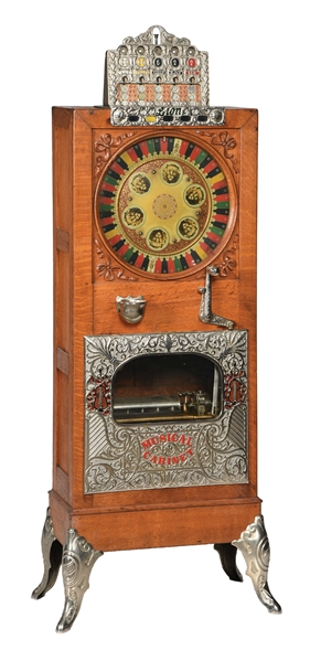5¢ CAILLE LION FLOOR WHEEL MUSICAL SLOT MACHINE.