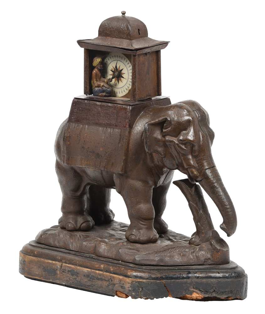 REMARKABLE CAST-IRON FIGURAL ELEPHANT STRENGTH TESTER.