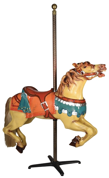CARVED CAROUSEL HORSE WITH STAND.