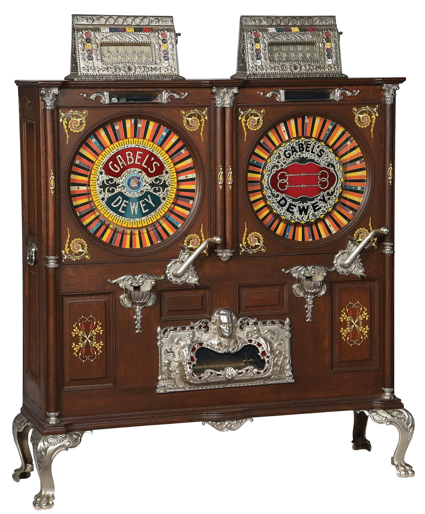 GABELS DEWEY MUSICAL DOUBLE UPRIGHT SLOT MACHINE.