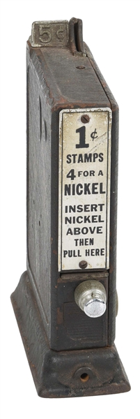 5¢ SCHERMACK SANITARY POSTAGE STATION STAMP VENDING MACHINE.