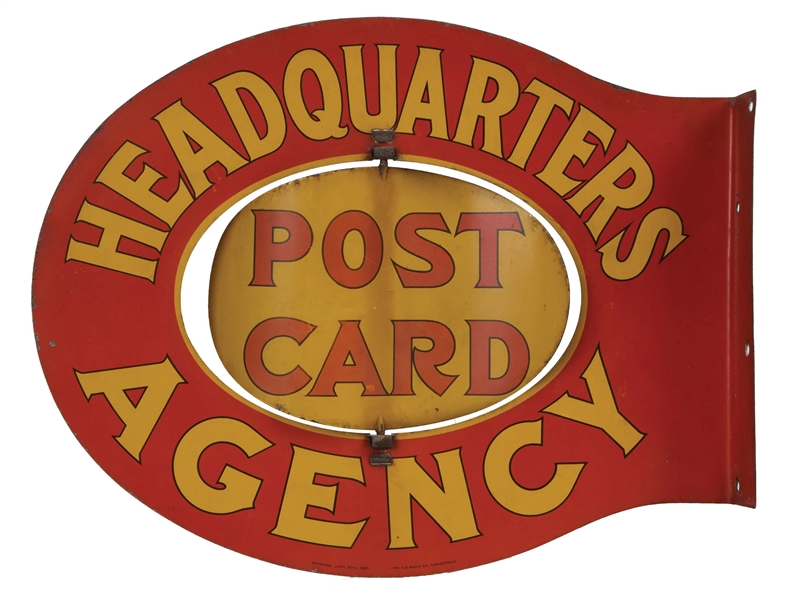 HEADQUARTERS POST CARD AGENCY FLANGE SIGN SPINNER.