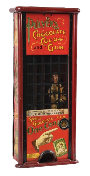 1¢ PULVER CHOCOLAE & CHICLE MFG. CO. CHOCOLATE AND GUM VENDING MACHINE.