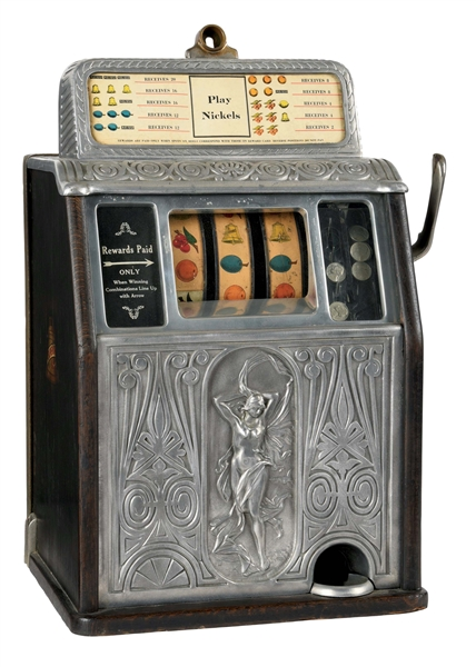 5¢ CAILLE BROS. SUPERIOR NUDE FRONT SLOT MACHINE.