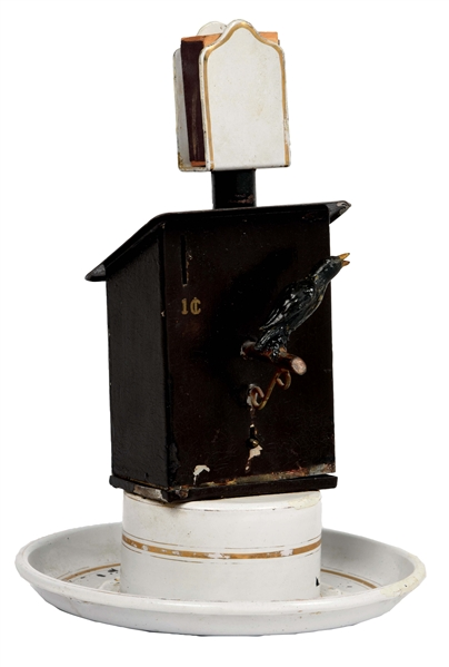 1¢ SINGING BIRD MUSIC BOX WITH ASHTRAY AND MATCH BOX HOLDER
