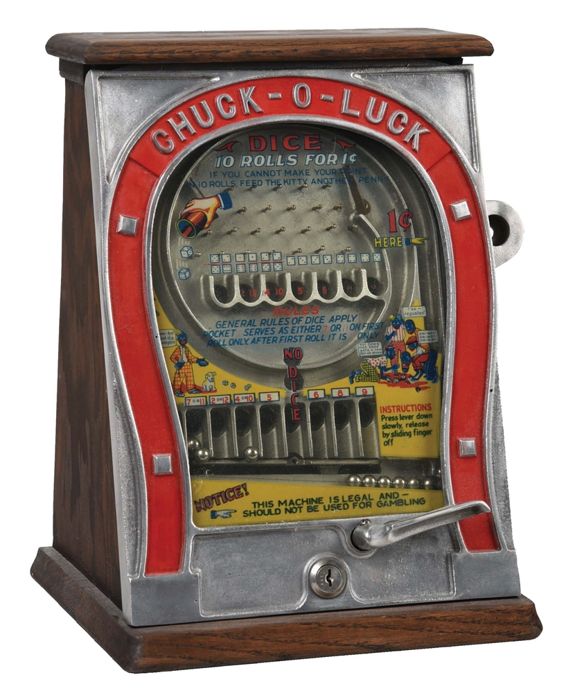 1¢ GOTTLIEB MFG. CHUCK-O-LUCK  DICE GAME.
