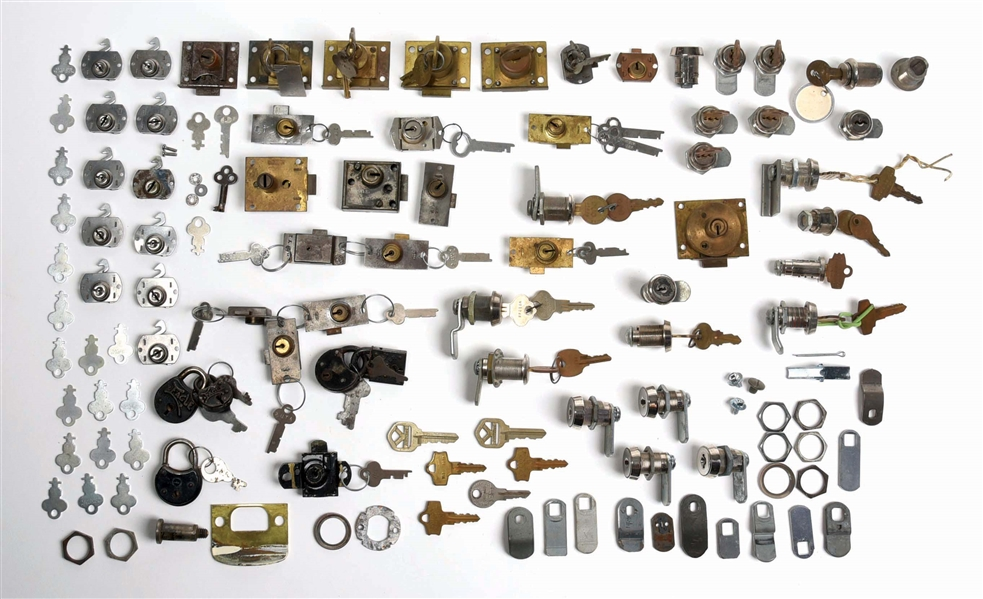 LARGE LOT OF COIN-OPERATED MACHINE LOCKS AND LOCKS PARTS.
