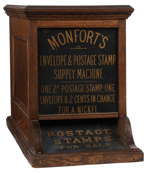 5¢ MONFORTS ENVELOPE AND POSTAGE STAMP SUPPLY MACHINE.