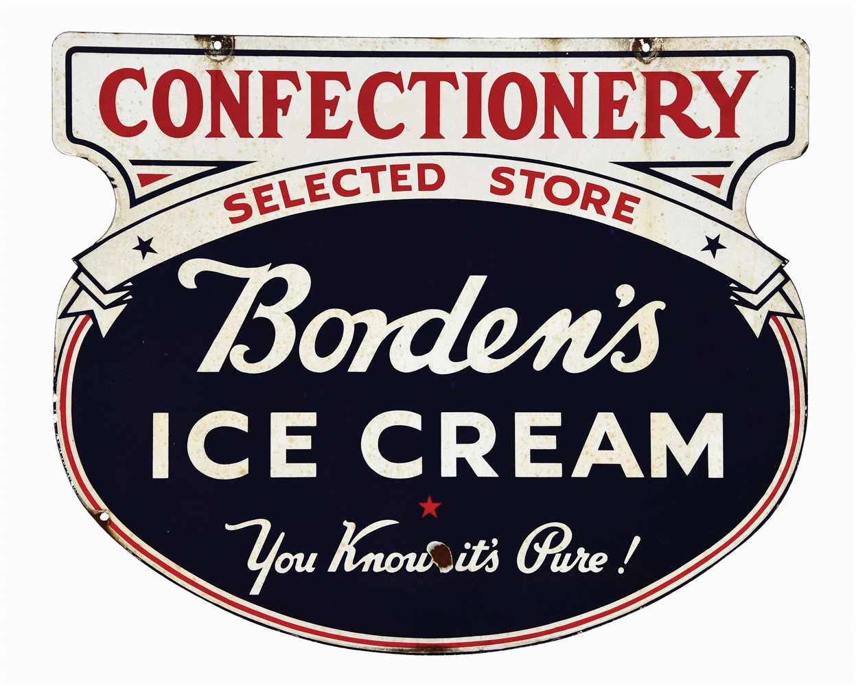 BORDENS ICE CREAM DIE CUT PORCELAIN SIGN W/ CONFECTIONERY PRIVILEGE PANEL.