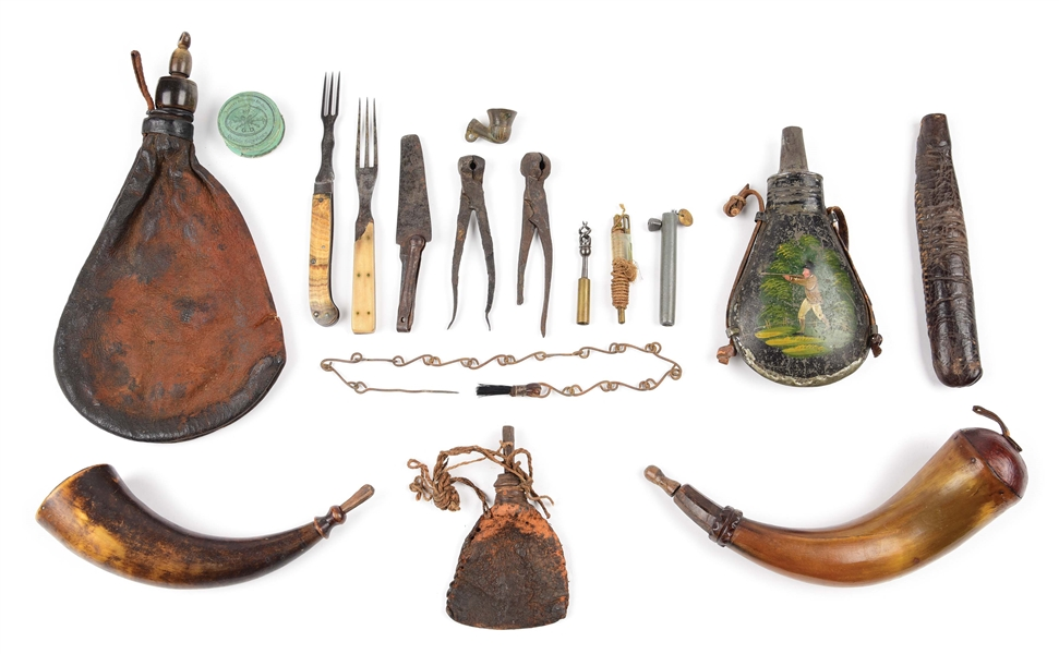 LOT OF 6: TWO POWDER HORNS, FOUR POWDER FLASKS, & DISPLAY CASE OF MISC. ACCESSORIES.