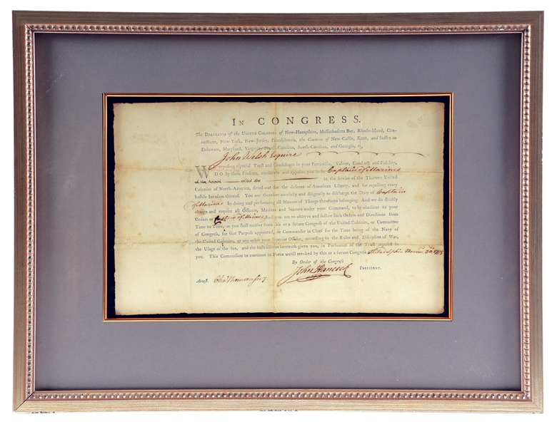 UNIQUE, JOHN HANCOCK-SIGNED, 1775 CONTINENTAL MARINE OFFICERS COMMISSION.