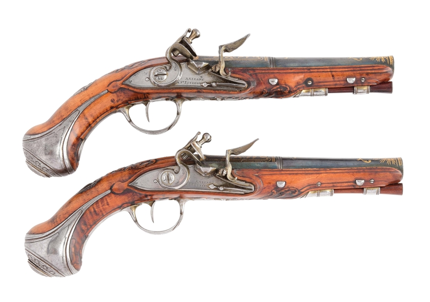 (A) EXTREMELY FINE PAIR OF FRENCH FLINTLOCK GREATCOAT PISTOLS, CIRCA 1750.