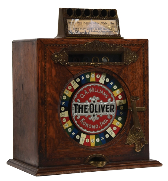 "5¢ O.A. WILLIAMS ""THE OLIVER"" COUNTER WHEEL SLOT MACHINE."