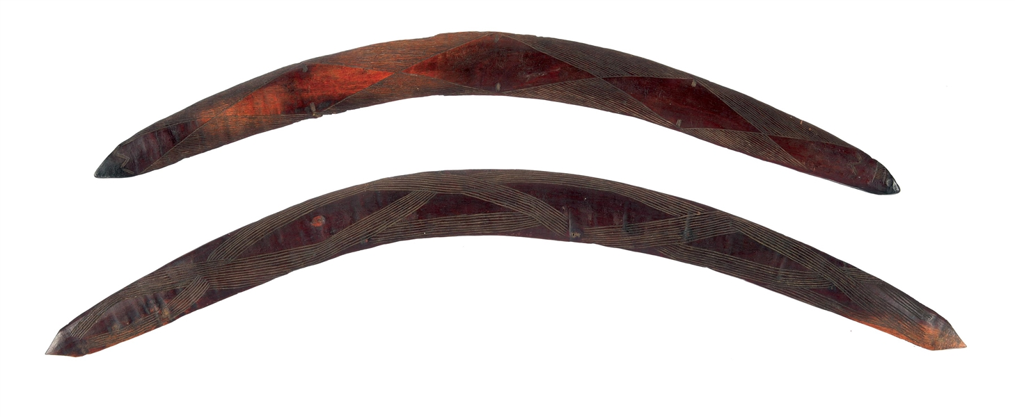 LOT OF 2: CARVED AUSTRALIAN BOOMERANGS.