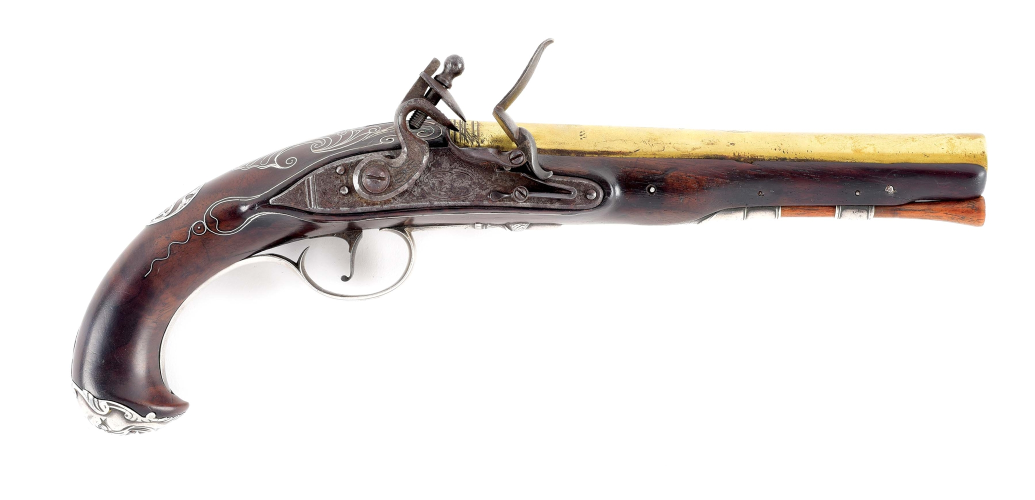 [REVOLUTIONARY WAR]. AN EXTREMELY RARE, SILVER-MOUNTED, OFFICERS PISTOL MADE AT RAPPAHANNOCK FORGE, VIRGINIA.