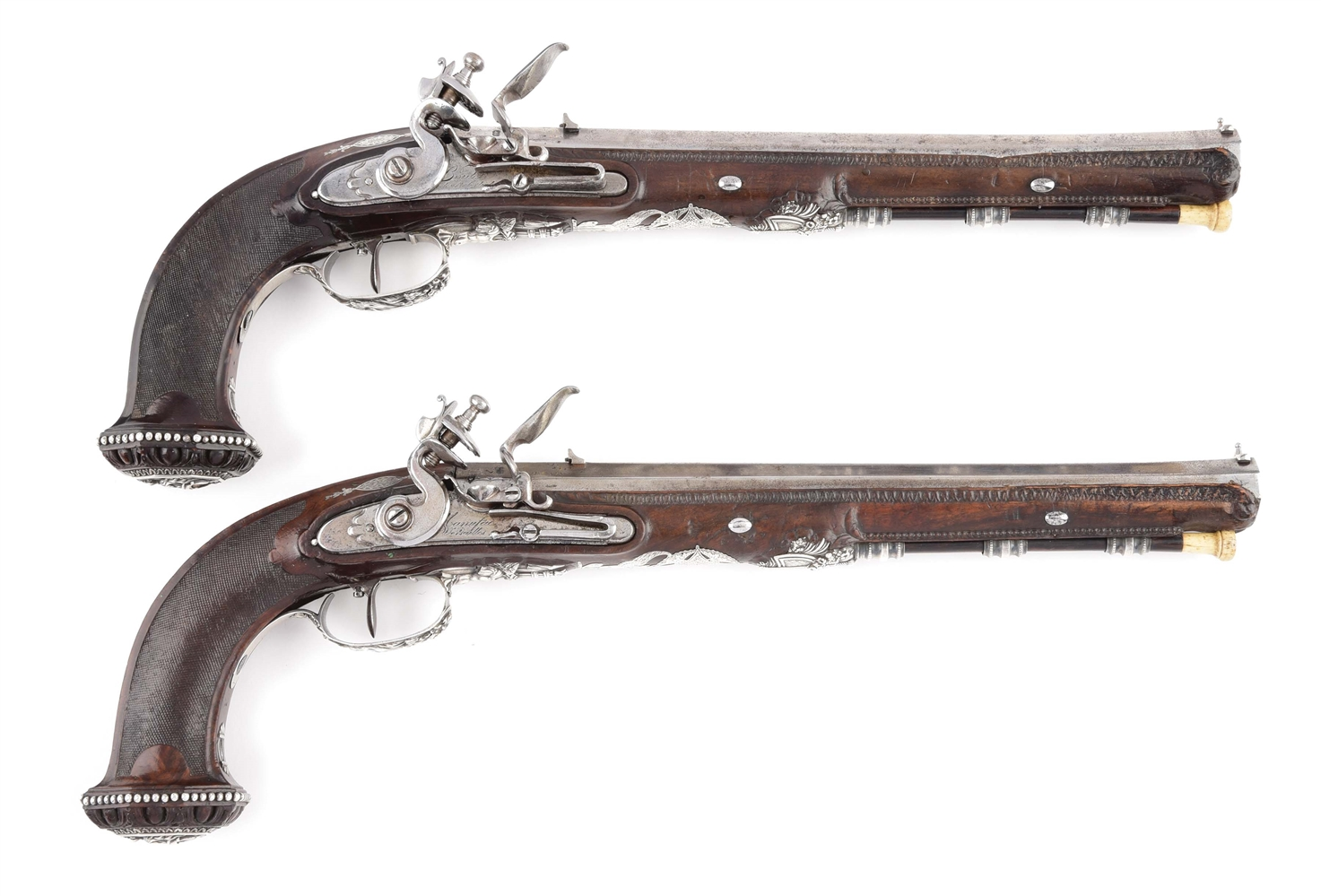 A RARE AND IMPRESSIVE PAIR OF PRESENTATION GRADE OFFICER'S FLINTLOCK PISTOLS BY NICHOLAS BOUTET A VERSAILLES, CIRCA 1800, FROM THE COLLECTION OF DR. JOHN LATTIMER.