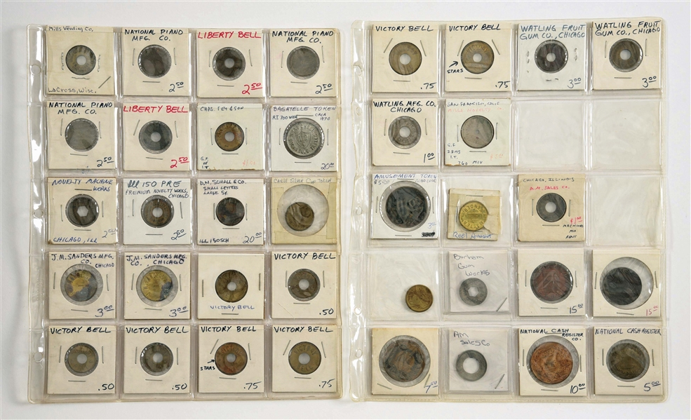 AN ASSORTMENT OF COIN-OPERATED MACHINE TOKENS AND TRADE CHECKS.