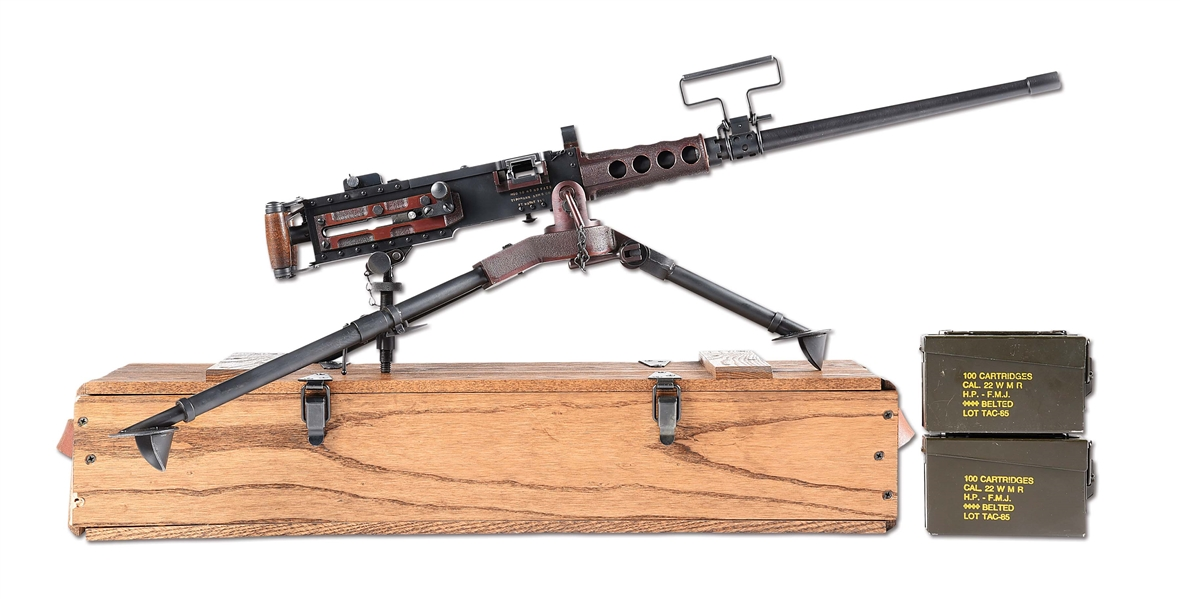 (N) FANTASTIC UNFIRED TIPPMAN FULLY AUTOMATIC FUNCTIONAL MINIATURE REPLICA OF BROWNING M2 .50 CAL. HB MACHINE GUN (FULLY TRANSFERABLE).