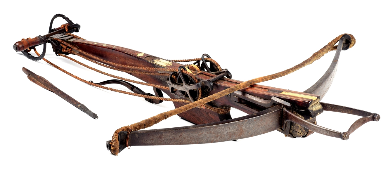 LARGE GERMAN SIEGE CROSSBOW WITH WINDLASS AND QUARREL.
