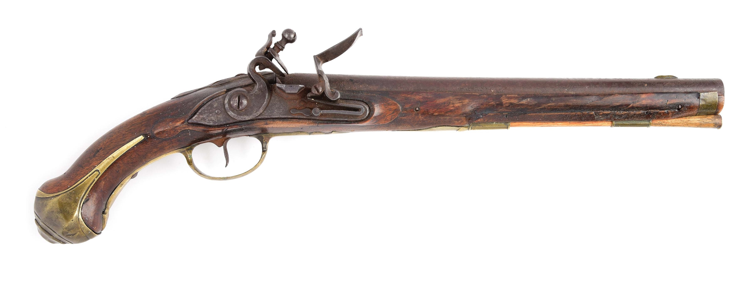 "(A) RARE & IMPORTANT HESSIAN FLINTLOCK CAVALRY PISTOL WITH DOUBLE ""WL"" CYPHER OF WILHELM LANGRAVE."