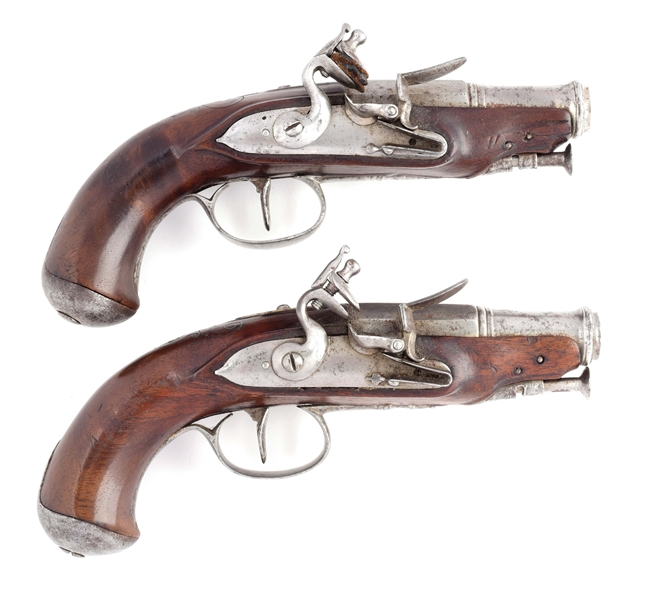 GOOD PAIR OF FRENCH FLINTLOCK POCKET PISTOLS MARKED A*C.