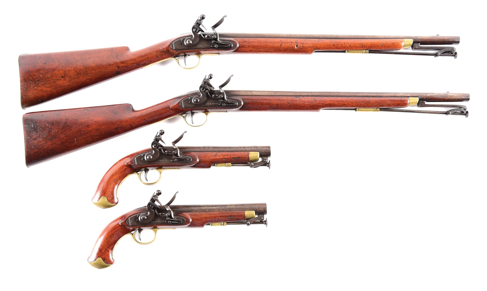 (A) LOT OF 4: SEQUENTIALLY REGISTERED RIGBY POLICE CARBINES AND POLICE PISTOLS IN ORIGINAL FLINTLOCK.