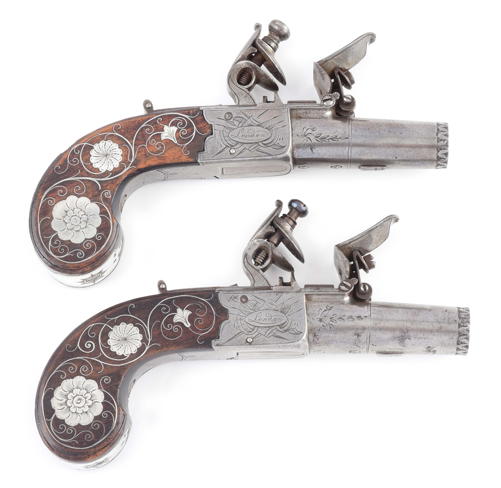 (A) FINE PAIR OF SILVER INLAID ENGLISH FLINTLOCK POCKET PISTOLS BY JACKSON.