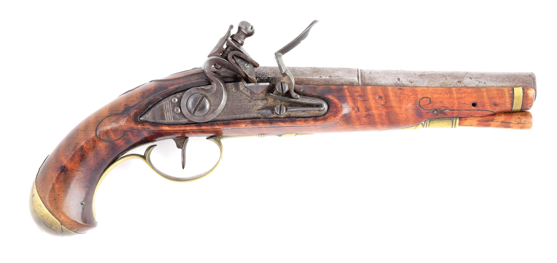 (A) EXCELLENT RARE UNTOUCHED FLINTLOCK PISTOL SIGNED J.P. BECK WITH RELIEF CARVING.