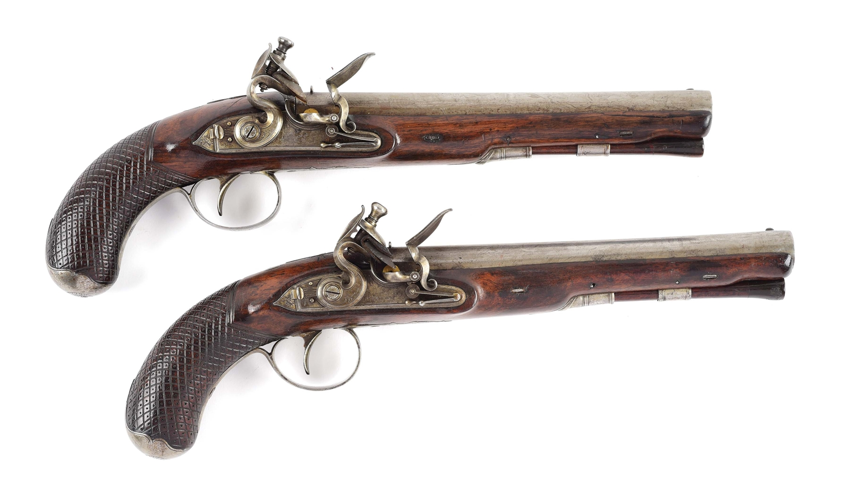 (A) IMPORTANT CASED PAIR OF FLINTLOCK DUELING PISTOLS BY TATHAM, PRESENTED TO CAPTAIN DANIEL TYLER OF BUNKER HILL FAME.