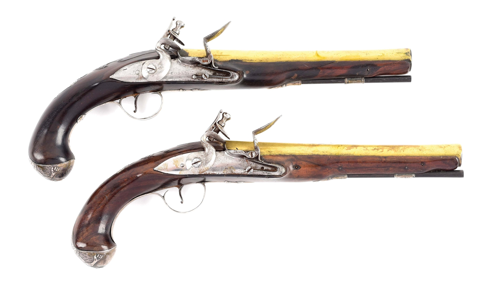 (A) FINE PAIR OF SILVER MOUNTED OFFICERS PISTOLS HALLMARKED HALBACH.