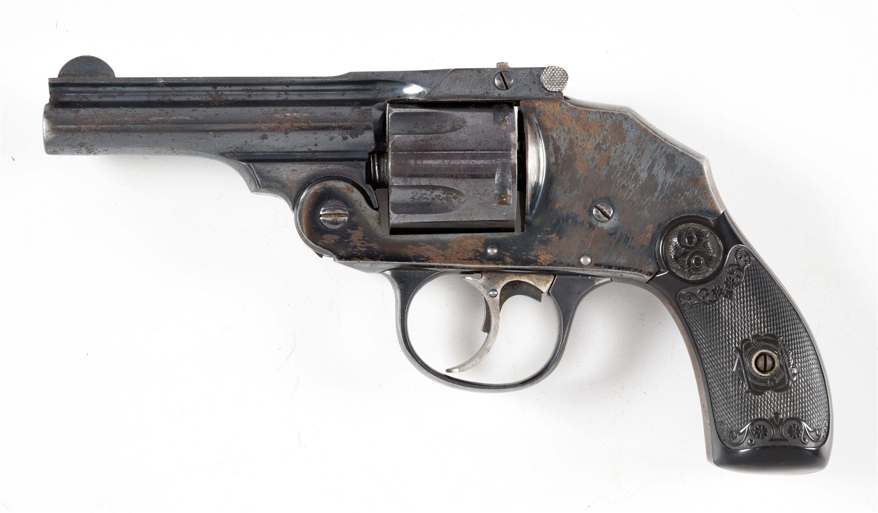 (C) IVER JOHNSON SAFETY AUTOMATIC HAMMERLESS DOUBLE ACTION REVOLVER.