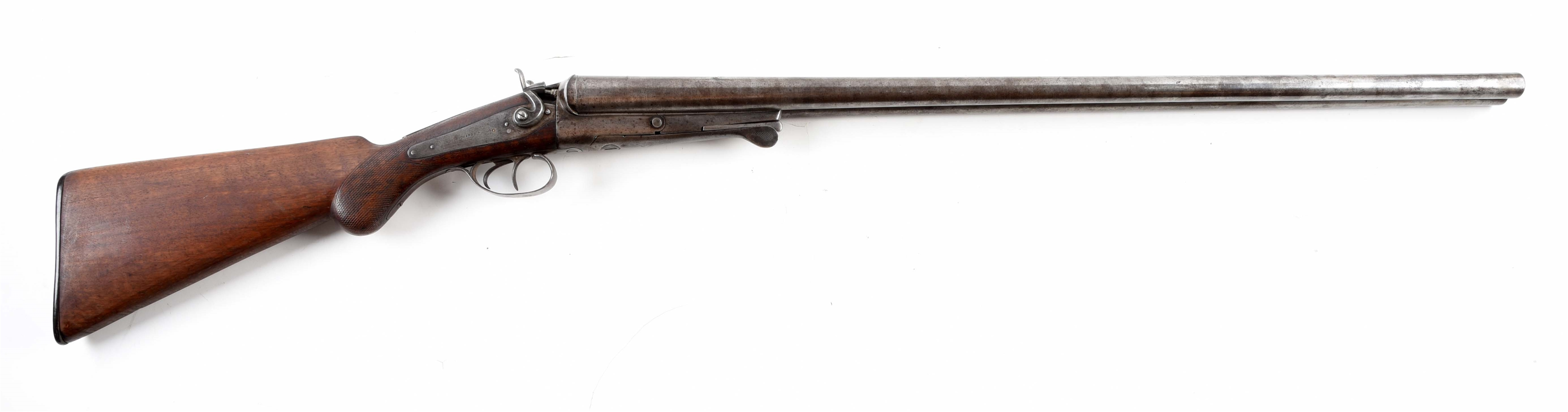 "(A) BELGIAN BACK ACTION LOCK UNDERLEVER SIDE BY SIDE SHOTGUN MARKED ""W. RICHARDS."""